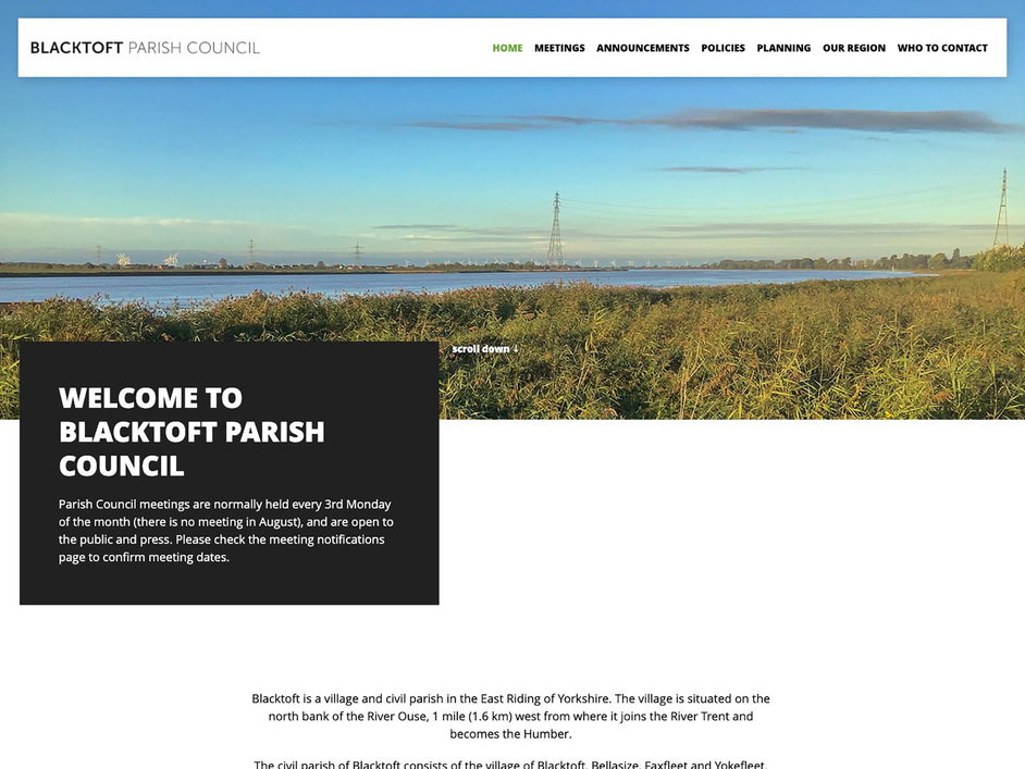 The Blacktoft parish council website, created by it'seeze