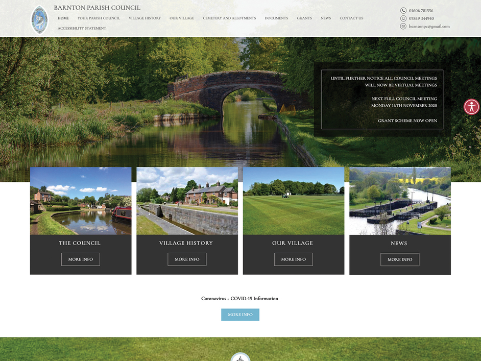 The Barnton parish council website, created by it'seeze