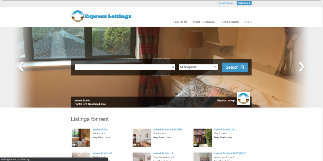 The old Express Lettings website