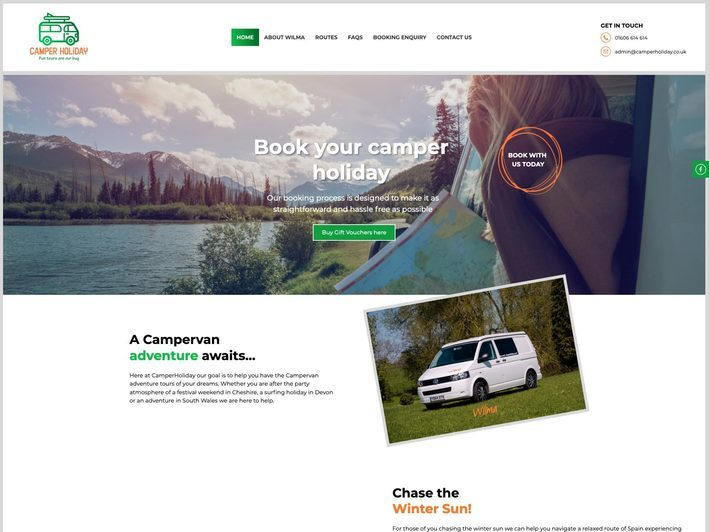 The Camper Holiday website created by it'seeze