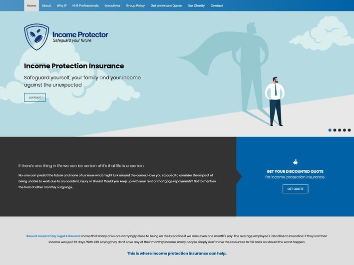 The Income Protector website created by it'seeze